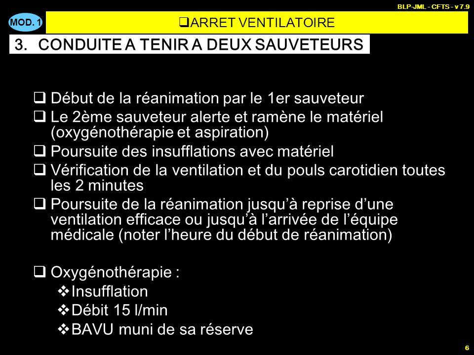 MOD. 1 BLP-JML - CFTS - v 7.9 6 Début de la réanimation par le 1er sauveteur Le 2ème sauveteur alerte et ramène le matériel (oxygénothérapie et aspira