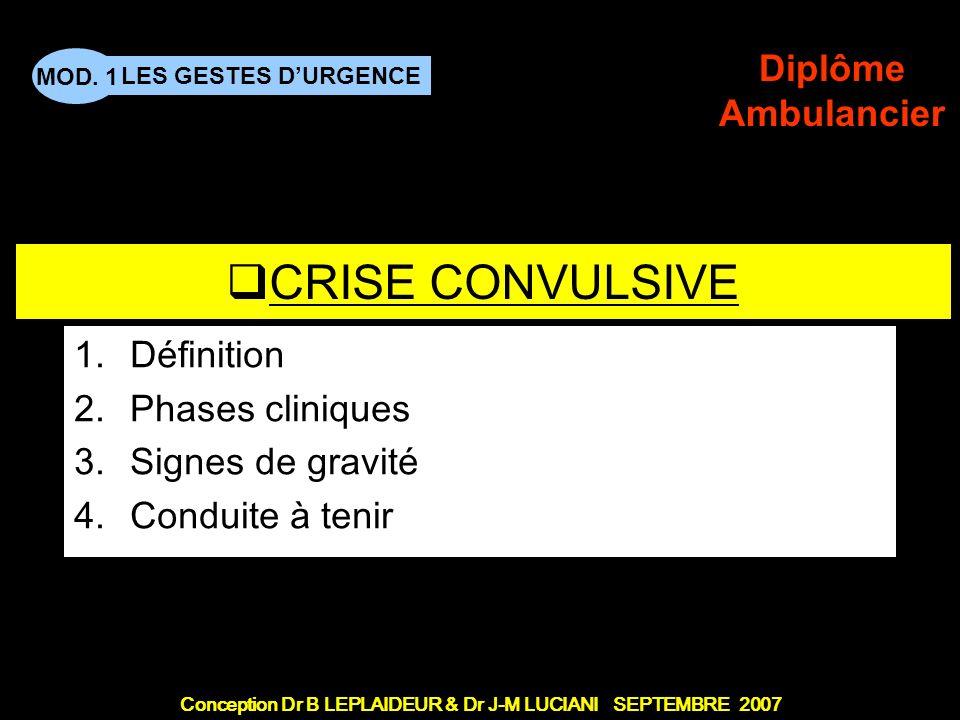 Conception Dr B LEPLAIDEUR & Dr J-M LUCIANI SEPTEMBRE 2007 LES GESTES DURGENCE MOD. 1 Diplôme Ambulancier TITRE DE CHAPITRE CRISE CONVULSIVE 1.Définit