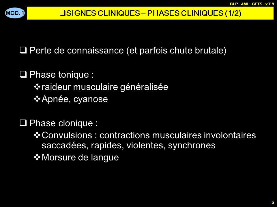 MOD. 1 BLP - JML - CFTS - v 7.9 3 Perte de connaissance (et parfois chute brutale) Phase tonique : raideur musculaire généralisée Apnée, cyanose Phase