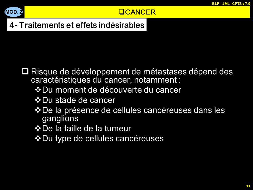 MOD. 2 BLP - JML - CFTS v 7.9 11 Risque de développement de métastases dépend des caractéristiques du cancer, notamment : Du moment de découverte du c