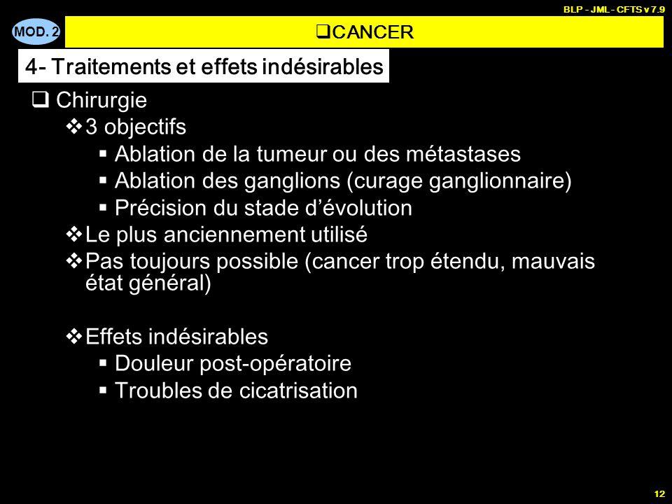 MOD. 2 BLP - JML - CFTS v 7.9 12 Chirurgie 3 objectifs Ablation de la tumeur ou des métastases Ablation des ganglions (curage ganglionnaire) Précision