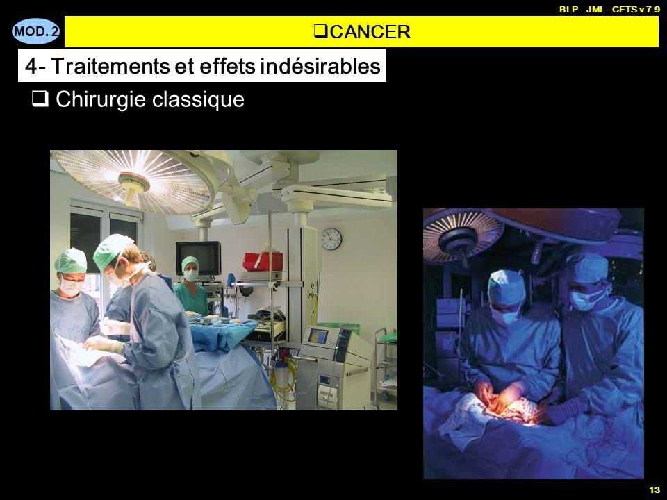 MOD. 2 BLP - JML - CFTS v 7.9 13 Chirurgie classique CANCER 4- Traitements et effets indésirables