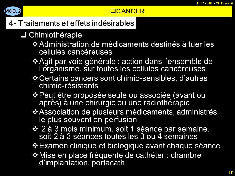 MOD. 2 BLP - JML - CFTS v 7.9 17 Chimiothérapie Administration de médicaments destinés à tuer les cellules cancéreuses Agit par voie générale : action