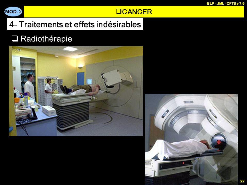 MOD. 2 BLP - JML - CFTS v 7.9 22 Radiothérapie CANCER 4- Traitements et effets indésirables
