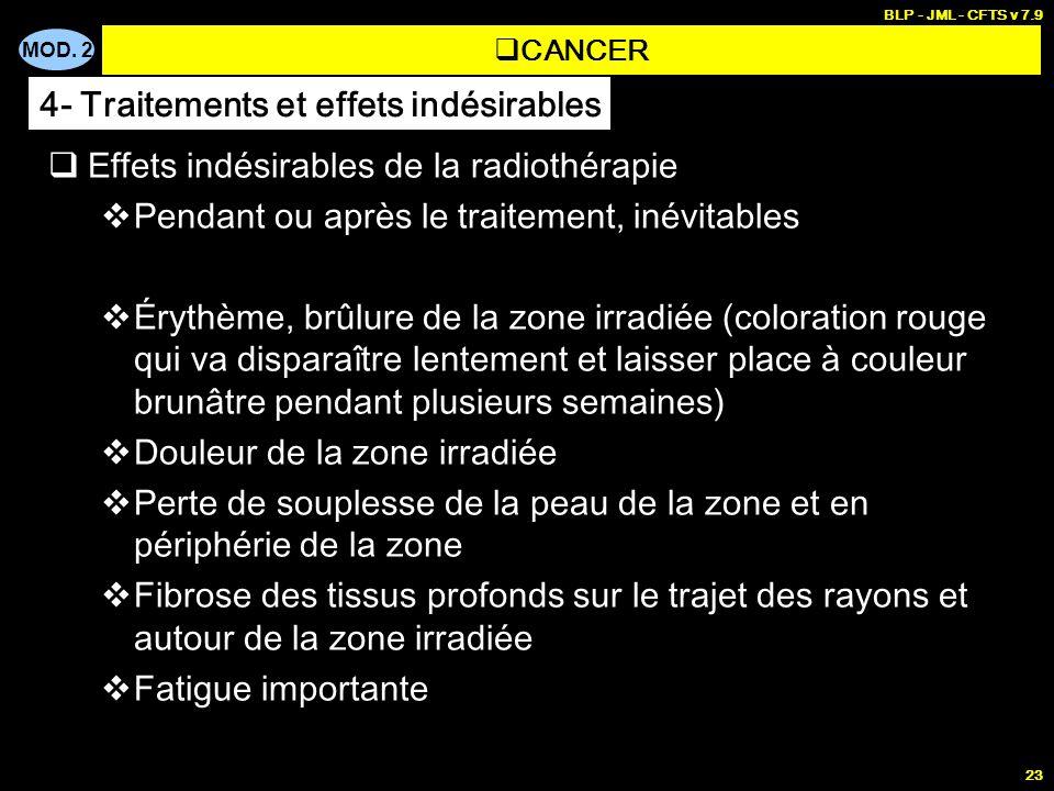 MOD. 2 BLP - JML - CFTS v 7.9 23 Effets indésirables de la radiothérapie Pendant ou après le traitement, inévitables Érythème, brûlure de la zone irra