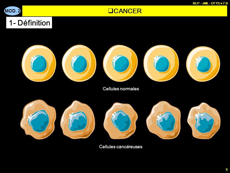 MOD. 2 BLP - JML - CFTS v 7.9 3 CANCER 1- Définition Cellules normales Cellules cancéreuses
