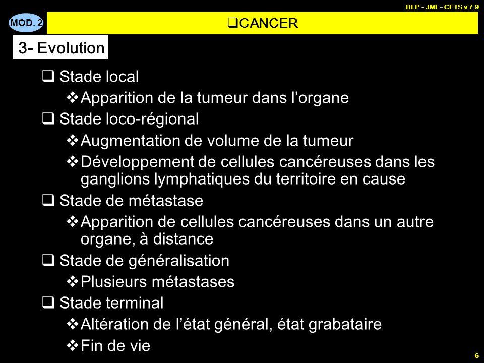 MOD. 2 BLP - JML - CFTS v 7.9 6 Stade local Apparition de la tumeur dans lorgane Stade loco-régional Augmentation de volume de la tumeur Développement