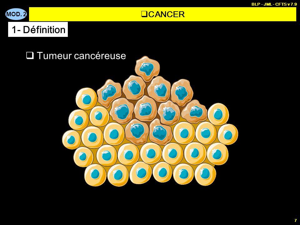 MOD. 2 BLP - JML - CFTS v 7.9 7 CANCER 1- Définition Tumeur cancéreuse