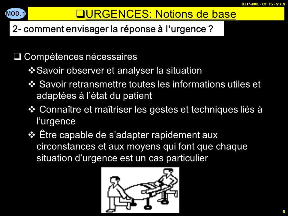 MOD. 1 BLP-JML - CFTS - v 7.9 5 URGENCES: Notions de base Compétences nécessaires Savoir observer et analyser la situation Savoir retransmettre toutes