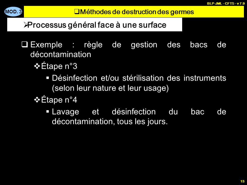 MOD. 3 BLP-JML - CFTS - v 7.9 13 Exemple : règle de gestion des bacs de décontamination Étape n°3 Désinfection et/ou stérilisation des instruments (se