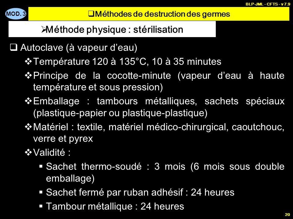 MOD. 3 BLP-JML - CFTS - v 7.9 20 Autoclave (à vapeur deau) Température 120 à 135°C, 10 à 35 minutes Principe de la cocotte-minute (vapeur deau à haute