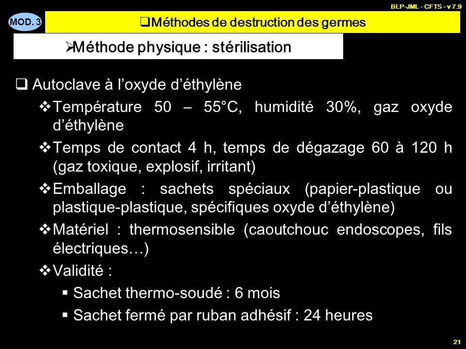 MOD. 3 BLP-JML - CFTS - v 7.9 21 Autoclave à loxyde déthylène Température 50 – 55°C, humidité 30%, gaz oxyde déthylène Temps de contact 4 h, temps de