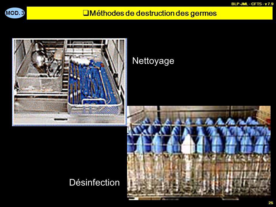 MOD. 3 BLP-JML - CFTS - v 7.9 25 Nettoyage, désinfection et stérilisation Désinfection Nettoyage Méthodes de destruction des germes