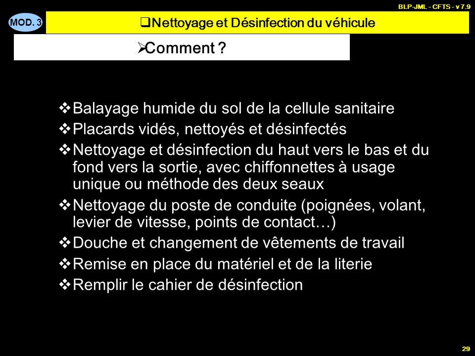 MOD. 3 BLP-JML - CFTS - v 7.9 29 Balayage humide du sol de la cellule sanitaire Placards vidés, nettoyés et désinfectés Nettoyage et désinfection du h
