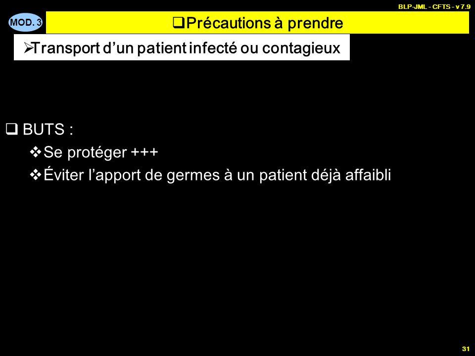 MOD. 3 BLP-JML - CFTS - v 7.9 31 BUTS : Se protéger +++ Éviter lapport de germes à un patient déjà affaibli Transport dun patient infecté ou contagieu