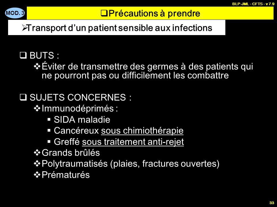 MOD. 3 BLP-JML - CFTS - v 7.9 33 BUTS : Éviter de transmettre des germes à des patients qui ne pourront pas ou difficilement les combattre SUJETS CONC
