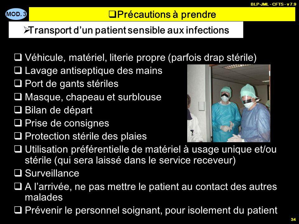 MOD. 3 BLP-JML - CFTS - v 7.9 34 Précautions à prendre Véhicule, matériel, literie propre (parfois drap stérile) Lavage antiseptique des mains Port de