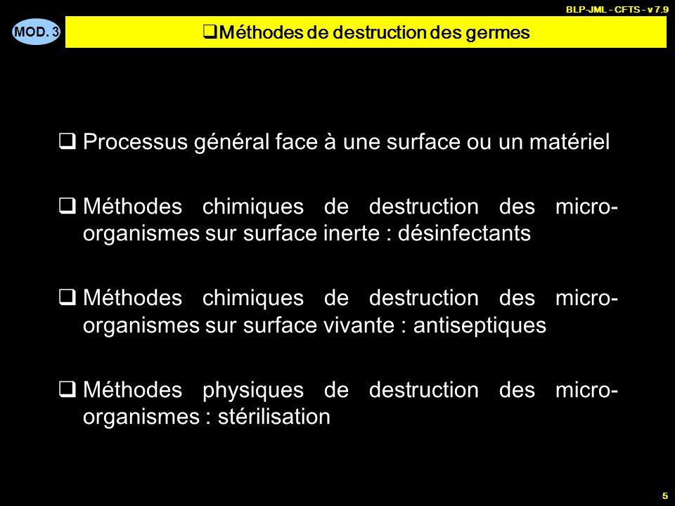 MOD. 3 BLP-JML - CFTS - v 7.9 5 Processus général face à une surface ou un matériel Méthodes chimiques de destruction des micro- organismes sur surfac