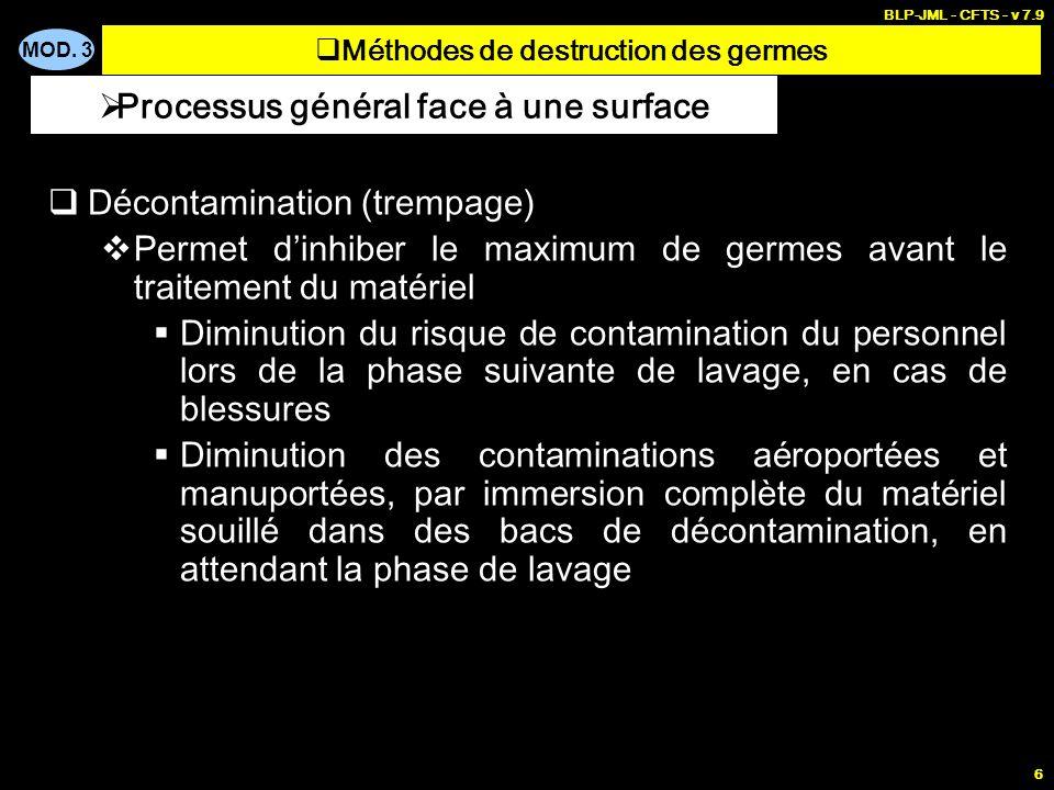 MOD. 3 BLP-JML - CFTS - v 7.9 6 Décontamination (trempage) Permet dinhiber le maximum de germes avant le traitement du matériel Diminution du risque d