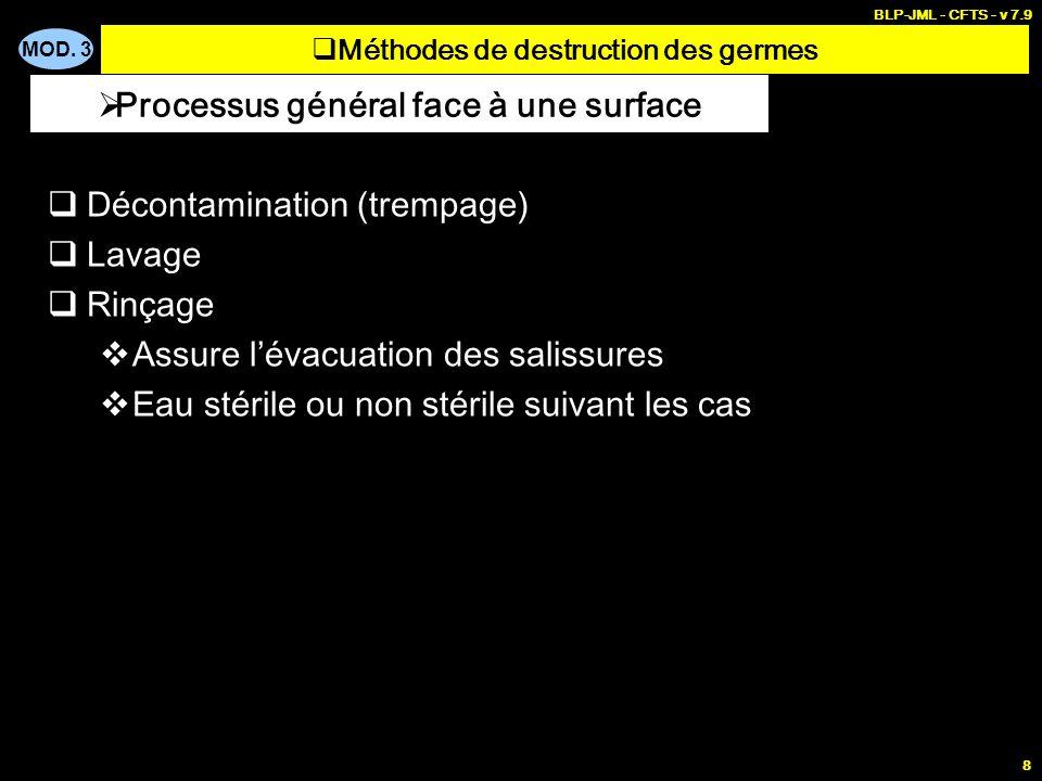 MOD. 3 BLP-JML - CFTS - v 7.9 8 Décontamination (trempage) Lavage Rinçage Assure lévacuation des salissures Eau stérile ou non stérile suivant les cas