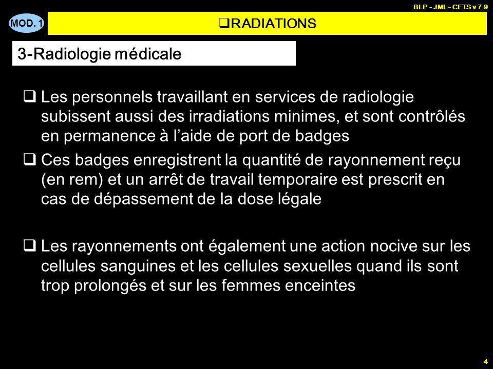 MOD. 1 BLP - JML - CFTS v 7.9 4 RADIATIONS Les personnels travaillant en services de radiologie subissent aussi des irradiations minimes, et sont cont