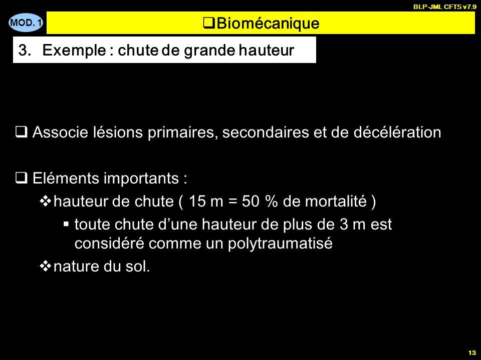 MOD. 1 BLP-JML CFTS v7.9 13 Biomécanique 3.Exemple : chute de grande hauteur Associe lésions primaires, secondaires et de décélération Eléments import