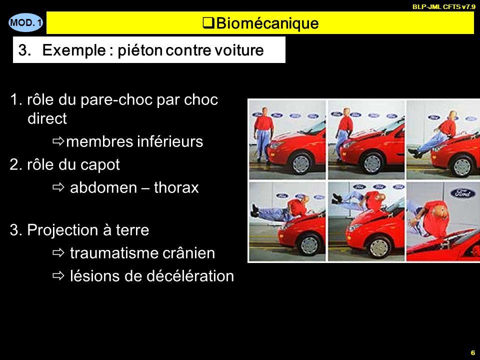 MOD. 1 BLP-JML CFTS v7.9 6 1. rôle du pare-choc par choc direct membres inférieurs 2. rôle du capot abdomen – thorax 3. Projection à terre traumatisme