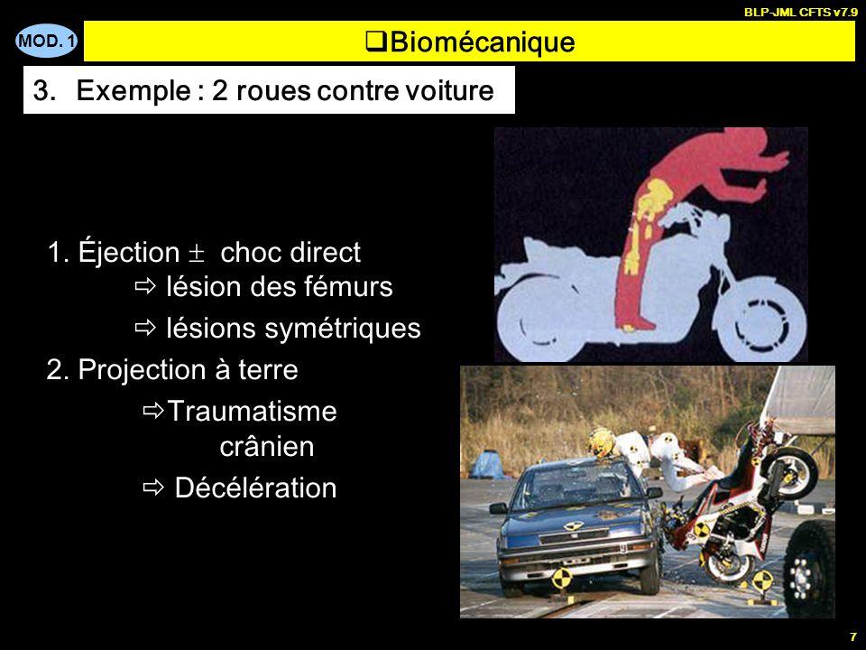 MOD. 1 BLP-JML CFTS v7.9 7 Biomécanique 3.Exemple : 2 roues contre voiture 1. Éjection choc direct lésion des fémurs lésions symétriques 2. Projection