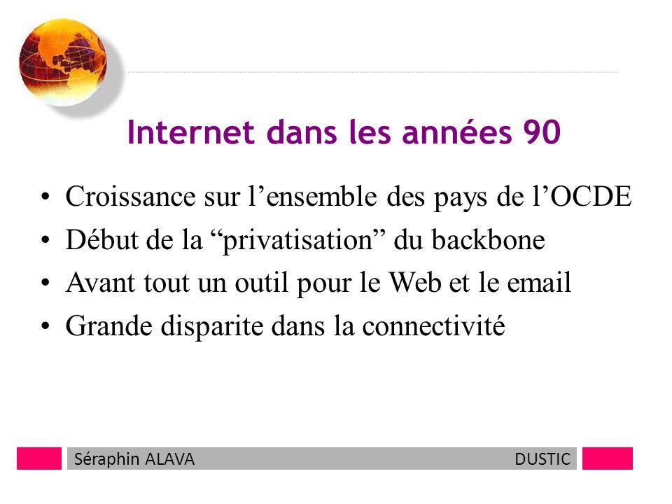 5 Internet dans les années 90 Croissance sur lensemble des pays de lOCDE Début de la privatisation du backbone Avant tout un outil pour le Web et le email Grande disparite dans la connectivité Séraphin ALAVADUSTIC