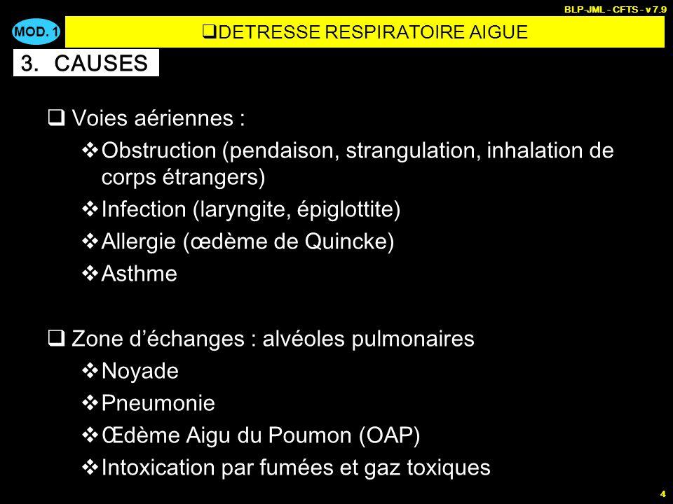 MOD. 1 BLP-JML - CFTS - v 7.9 4 Voies aériennes : Obstruction (pendaison, strangulation, inhalation de corps étrangers) Infection (laryngite, épiglott
