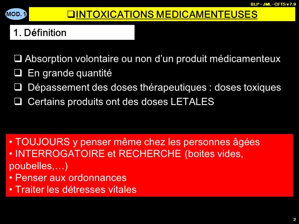 MOD. 1 BLP - JML - CFTS v 7.9 2 INTOXICATIONS MEDICAMENTEUSES Absorption volontaire ou non dun produit médicamenteux En grande quantité Dépassement de