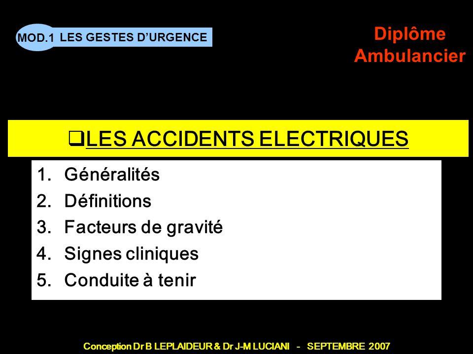 Conception Dr B LEPLAIDEUR & Dr J-M LUCIANI - SEPTEMBRE 2007 LES GESTES DURGENCE MOD.1 Diplôme Ambulancier TITRE DE CHAPITRE LES ACCIDENTS ELECTRIQUES