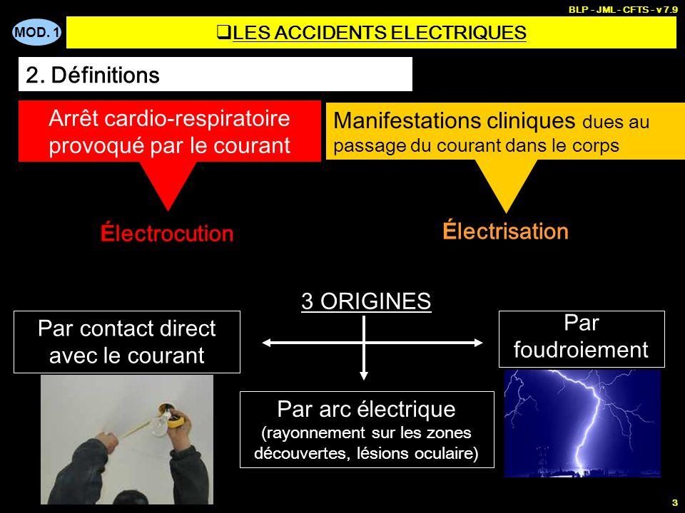 MOD. 1 BLP - JML - CFTS - v 7.9 3 2. Définitions Arrêt cardio-respiratoire provoqu é par le courant É lectrisation É lectrocution Manifestations clini