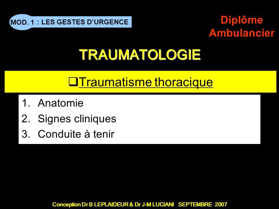 Conception Dr B LEPLAIDEUR & Dr J-M LUCIANI SEPTEMBRE 2007 : LES GESTES DURGENCE MOD. 1 Diplôme Ambulancier TITRE DE CHAPITRE TRAUMATOLOGIE Traumatism