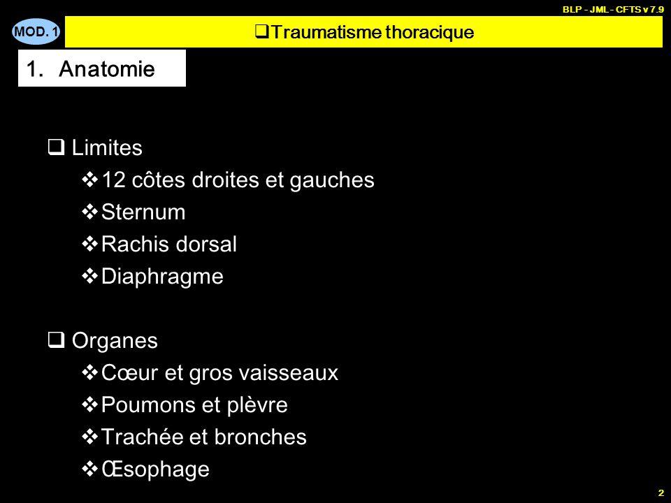 MOD. 1 BLP - JML - CFTS v 7.9 2 Limites 12 côtes droites et gauches Sternum Rachis dorsal Diaphragme Organes Cœur et gros vaisseaux Poumons et plèvre
