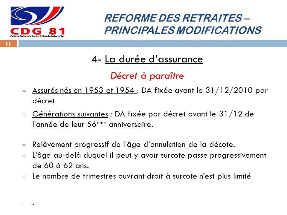 REFORME DES RETRAITES – PRINCIPALES MODIFICATIONS 11 4- La durée dassurance Décret à paraître Assurés nés en 1953 et 1954 : DA fixée avant le 31/12/20