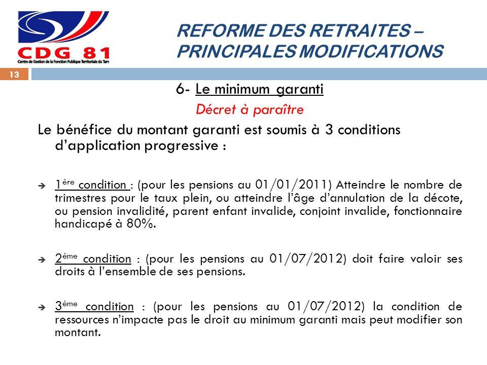 REFORME DES RETRAITES – PRINCIPALES MODIFICATIONS 13 6- Le minimum garanti Décret à paraître Le bénéfice du montant garanti est soumis à 3 conditions