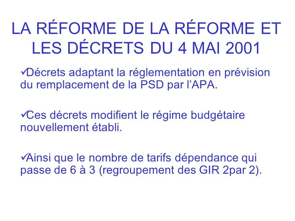 LA RÉFORME DE LA RÉFORME ET LES DÉCRETS DU 4 MAI 2001 Décrets adaptant la réglementation en prévision du remplacement de la PSD par lAPA. Ces décrets