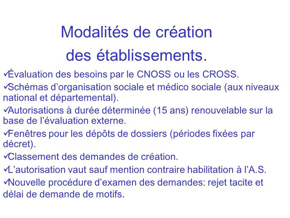 Évaluation des besoins par le CNOSS ou les CROSS. Schémas dorganisation sociale et médico sociale (aux niveaux national et départemental). Autorisatio