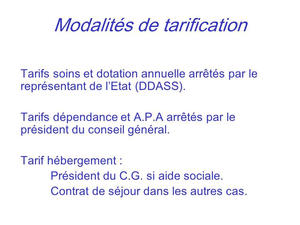 Modalités de tarification Tarifs soins et dotation annuelle arrêtés par le représentant de lEtat (DDASS). Tarifs dépendance et A.P.A arrêtés par le pr