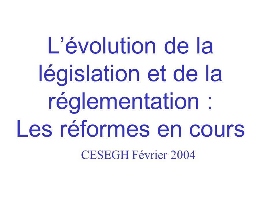 Lévolution de la législation et de la réglementation : Les réformes en cours CESEGH Février 2004