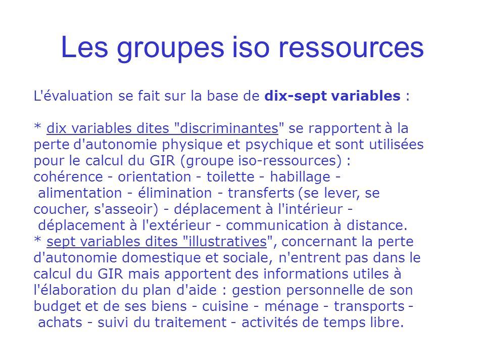 Les groupes iso ressources L'évaluation se fait sur la base de dix-sept variables : * dix variables dites