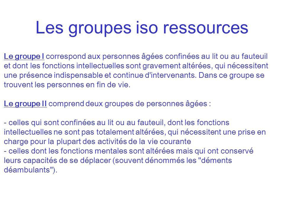 Les groupes iso ressources Le groupe I correspond aux personnes âgées confinées au lit ou au fauteuil et dont les fonctions intellectuelles sont grave