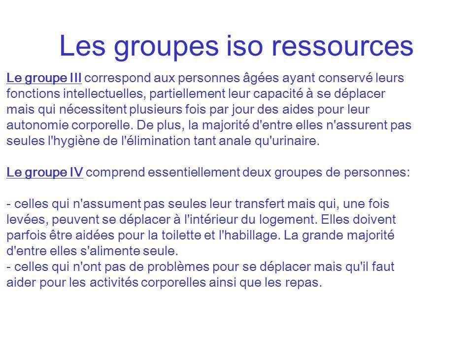 Les groupes iso ressources Le groupe III correspond aux personnes âgées ayant conservé leurs fonctions intellectuelles, partiellement leur capacité à