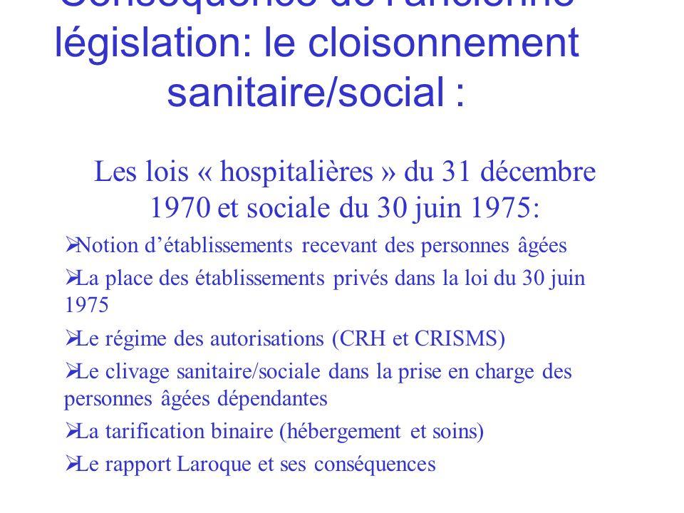 Conséquence de lancienne législation: le cloisonnement sanitaire/social : Les lois « hospitalières » du 31 décembre 1970 et sociale du 30 juin 1975: N