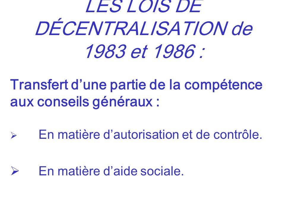 LES LOIS DE DÉCENTRALISATION de 1983 et 1986 : Transfert dune partie de la compétence aux conseils généraux : En matière dautorisation et de contrôle.