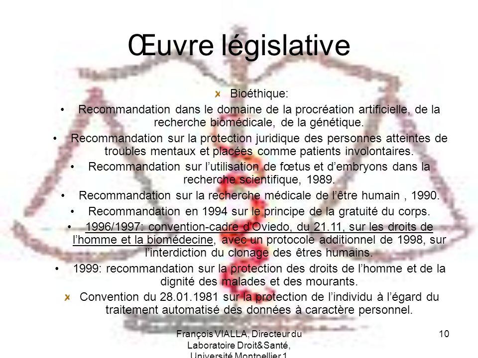François VIALLA, Directeur du Laboratoire Droit&Santé, Université Montpellier 1 10 Œuvre législative Bioéthique: Recommandation dans le domaine de la