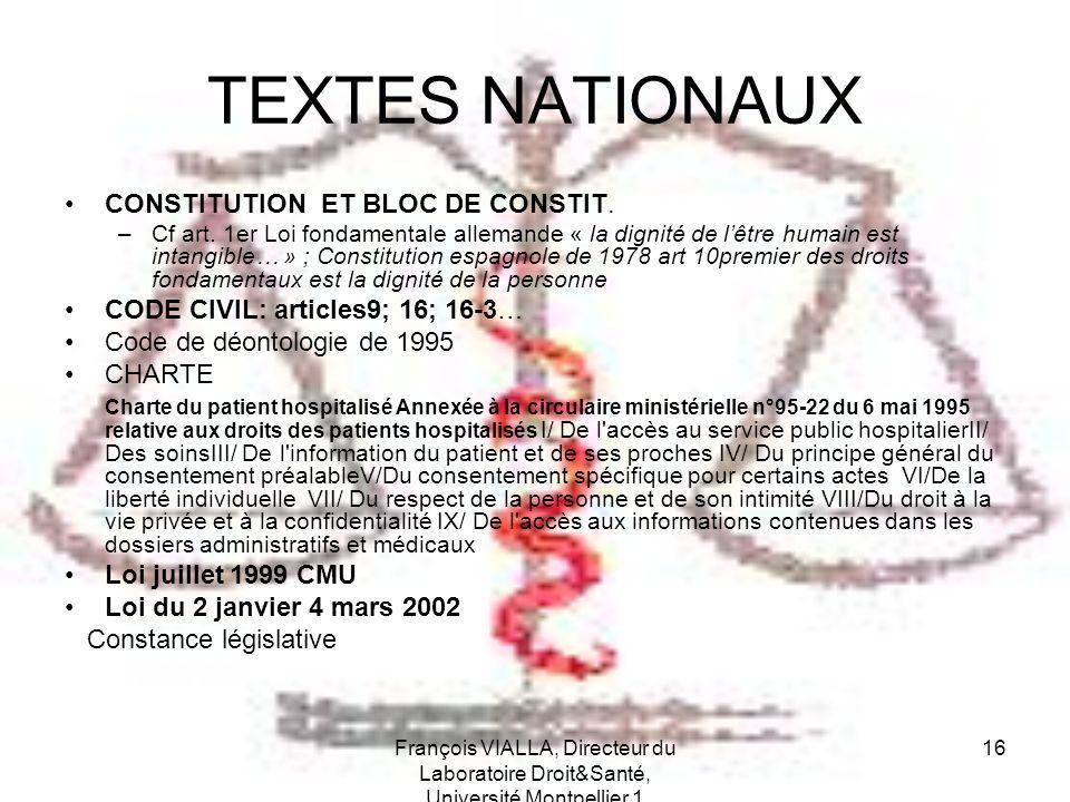 François VIALLA, Directeur du Laboratoire Droit&Santé, Université Montpellier 1 16 TEXTES NATIONAUX CONSTITUTION ET BLOC DE CONSTIT. –Cf art. 1er Loi