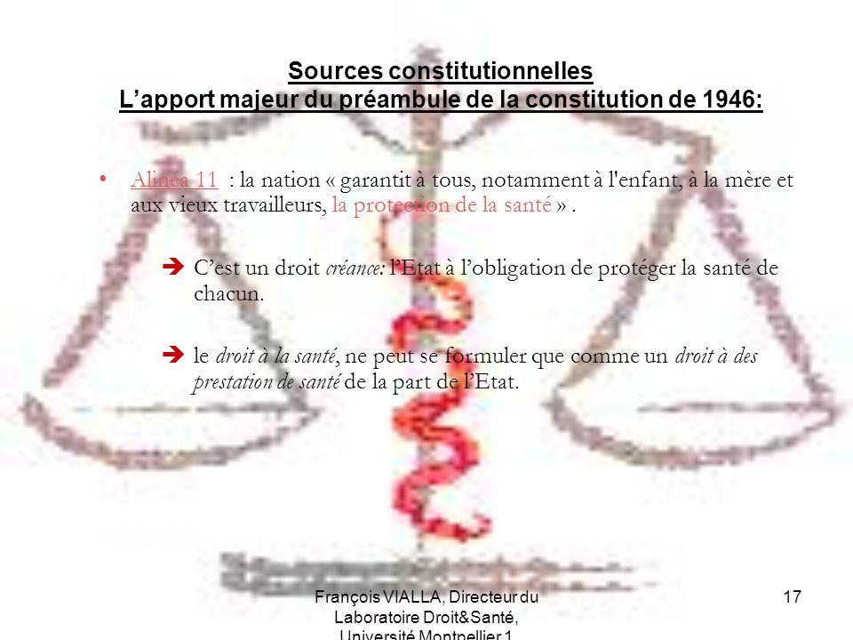 François VIALLA, Directeur du Laboratoire Droit&Santé, Université Montpellier 1 17 Sources constitutionnelles Lapport majeur du préambule de la consti