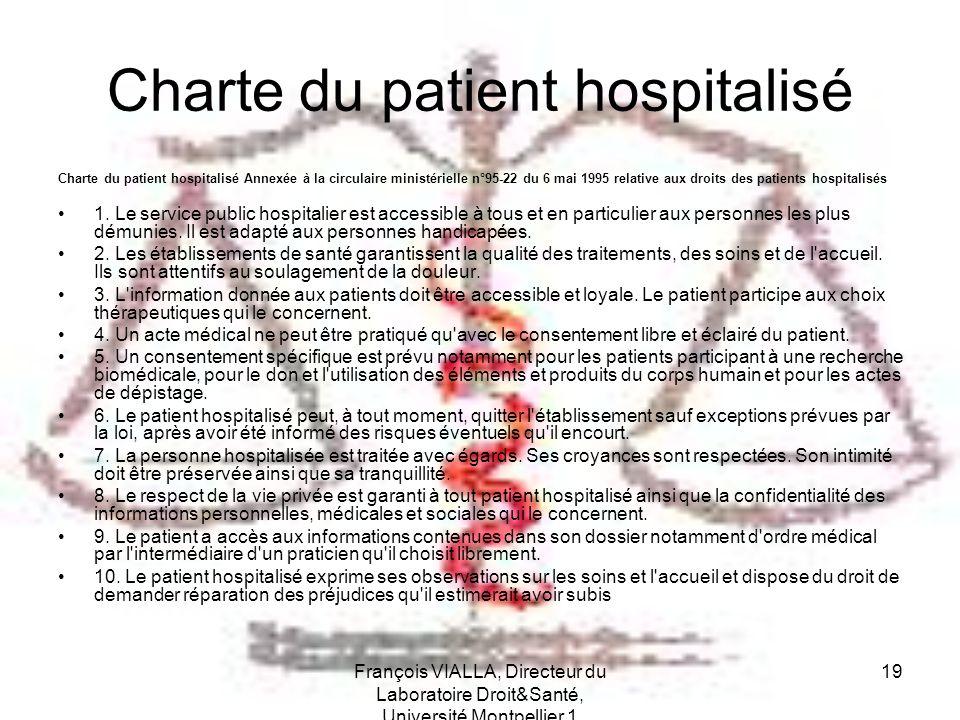 François VIALLA, Directeur du Laboratoire Droit&Santé, Université Montpellier 1 19 Charte du patient hospitalisé Charte du patient hospitalisé Annexée